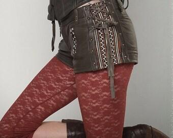 ON SALE!! Leather steampunk shorts burning man tribal shorts biker pixie leather shorts SYLPHIDE