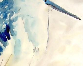 Fat Heron - Art print of Original Watercolor Painting - 8x10 Bird Art