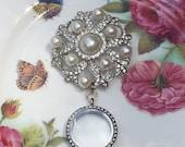 Silver Pearl & Rhinestone Emblem Brooch Memory Locket, Vintage Wedding Bouquet Photo Charm, Bridal Bouquet Photo Locket MoniquesBijouxStudio
