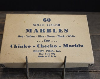 1940s  Berry Pink Solid Color Marbles in Original Box