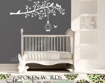 Baby Nursery Bird Cage Tree Vinyl Wall Decal........Your choice of color""