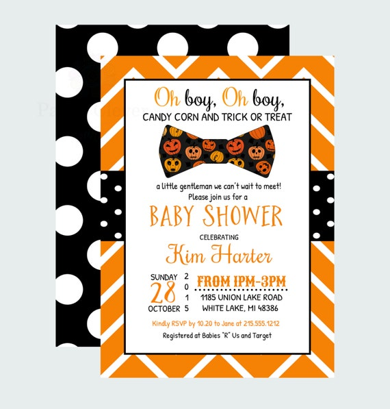 halloween baby shower invitation boys bow tie invites orange and black