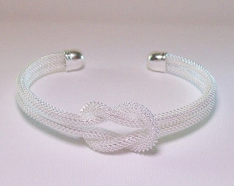 White bracelet, knot cuff bracelet, silver end pieces, Free USA shipping only, #B1053