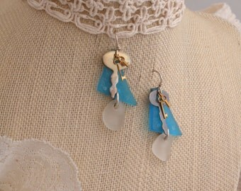 Three Keys & Church Glass Earrings.  FREE SHIPPING