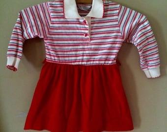 Vintage health tex striped heart button dress 18-24 months
