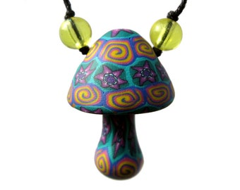 Millefiori mushroom pendant, colorful flower and spiral patterns, handmade from polymer clay, pretty flower power necklace, one of a kind