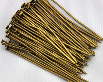 250pcs Antique Bronze Flat head pins, 1.5inch (4.0cm) long, 21ga, DIY Jewelry Making Supplies and Findings