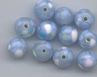 Eight gorgeous vintage Japanese lampwork glass beads - soft light powder blue splashed with lt. periwinkle blue, pale pink, aqua - 9.6 mm