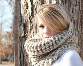FALL SALE The Chunky Cowl Neckwarmer  Scarf - Natural - Wool Blend