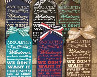 Absolutely No Soliciting Handmade Tag Wood Sign