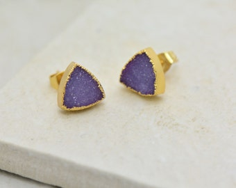 Purple Triangle Druzy Crystal Earring Posts with 24K Gold Dipped 10mm Triangle Earring Studs