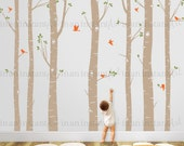 Birch Tree Wall Decal with Flying Birds, Birch forest, Birch Trees Wall Vinyl for Nursery, Living Room, Kids or Childrens Room 009