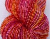 "Kettle Dyed Sock Yarn, Superwash Merino, Nylon and Gold Stellina Fingering Weight, in ""Sari"""