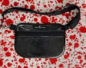 Roller Derby Fanny Pack / Hip Bag / Bum bag Black Sparkle Glitter Vinyl with Blood Splatter lining