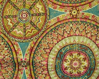 Suzani Tapestry Medallion Embroidered Pillow Covers in Funston Jade Designer Fabric