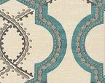 Robins Egg Blue, Grey and Ivory Trellis Pillow Covers in Turnabout Robins Egg