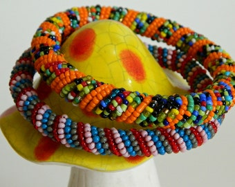 2 Colourful & Funky Handmade Beaded Bangle Bracelets- Ethnic Hippie Boho Gypsy Chic Orange Earthy Blue Red Whimsical Mismatched Vintage