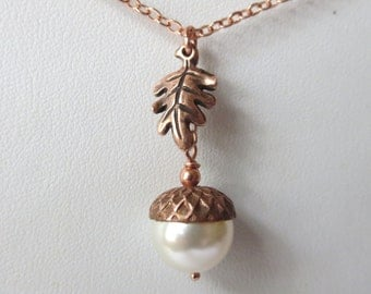 Copper and Rose Gold Acorn and Oak Leaf Necklace with Swarovski 12mm Cream Rose or Rose Gold Pearl