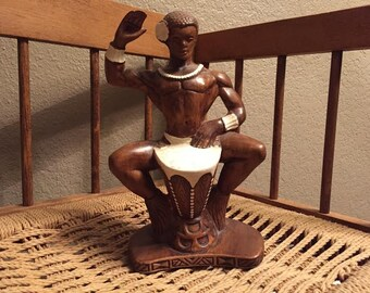 Treasure Craft Hawaiian Drummer Figurine 1959 Tiki Decor