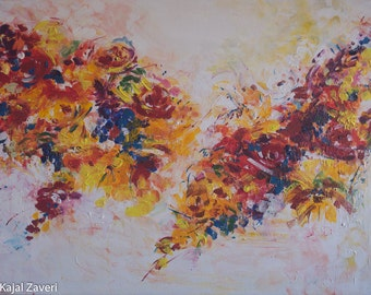 Blooms- Original, large floral acrylic painting ,Great gift idea,flower art,summer art