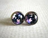 Purple Palms Stud Earrings : Glass Jewelry Cali