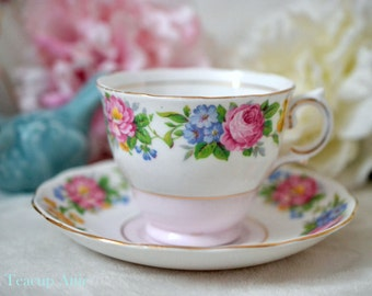 ON SALE Colclough Pink And White Teacup And Saucer Set With Large Multicolored Floral Band, English Bone China Tea Cup Set, ca. 1945-48