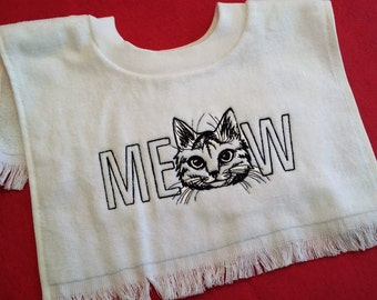 Embroidered Baby Toddler Terry Towel Pull Over Bib -Cat Lover - MEOW