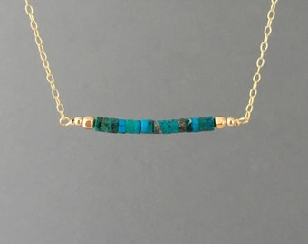Straight Bar Turquoise Beaded Necklace Gold Rose Gold or Silver