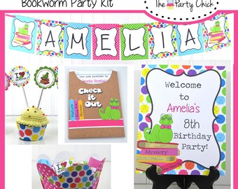 Bookworm,   Party Invitations & Decorations - Printable Party Kit - Editable Text you personalize at home - Instant Download, book worm