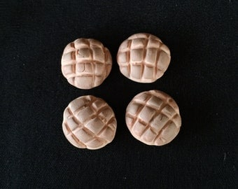 Set of 4 Polymer Clay Painted Chicolate Brown  Concha Pan Dulce