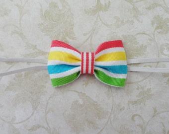 Infant Stripe Bow Headband,  Newborn Bow Headband, Caribbean Bow Headband, Small  Bowtie Headband, Petite Bow Headband, PhotoProp