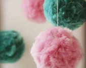 Baby Mobile for Nursery, Pom Pom Mobile - Handmade in Aqua and Pale Pink - For Girl. January SALE - Price reduced