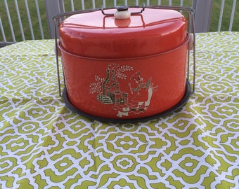 1950s Red Cake and Pie Carrier Outdoor Chef with Scottie Dog Design Red Tin Cake Carrier and Pie Plate Four Piece