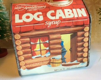 Vintage Log Cabin Syrup Commemorative 100th Anniversary Tin 1987  Cabin Decor Vintage Collectible