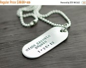 Valentines Day Gift Personalized Mens Necklace, Mens jewelry, Hand stamped Pendant Necklace,Gift for Him, Holiday gift