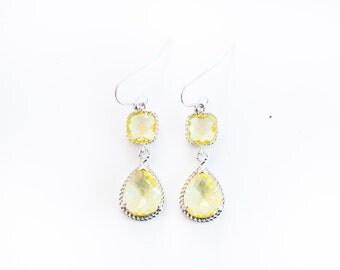 Lemon yellow teardrop earrings