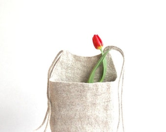 SALE Hanging basket, toys organizer, felted wool bag, natural eco-friendly hanging bag - Weddings gift