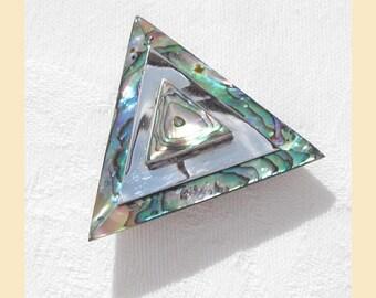 Vintage 1970s brooch, paua shell and silvertone metal, triangular shape