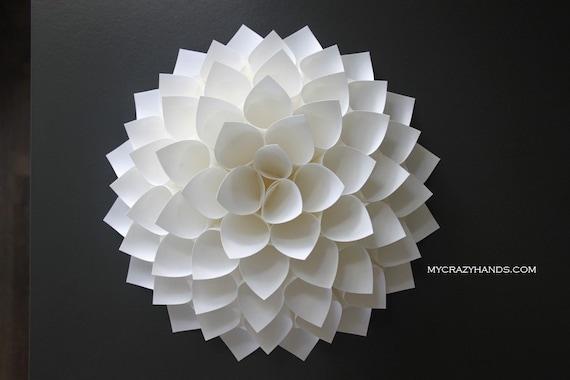 paper dahlia    10 1/8'' dahlia wall decor   origami flower   wedding gift   origami gifts   dahlia door wreath -white