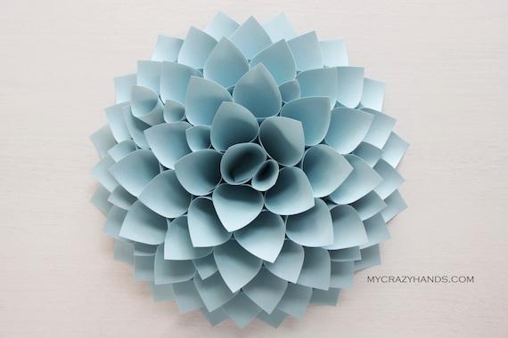 paper dahlia . 10 1/8'' dahlia wall art . origami flower . origami gifts . nursery wall decor . baby shower -pale blue