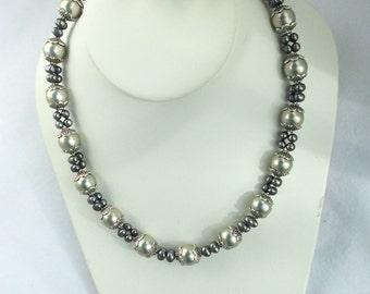 Silvery grey Shell & Fresh Water Pearl with silver lacy cap necklace and earrings set - Clearance