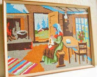 Hand Needlepoint Framed Woman doing Needlework Hand sewing in Cabin Cottage Colorful - Ready to Hang