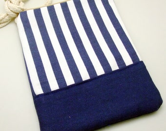 Cell phone bag / Smart phone bag / Shoulder purse / Crossbody bag ~ White and blue strips (D-12)