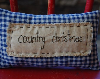 Country Christmas stitched pillow
