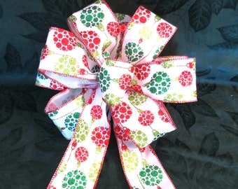 Christmas Bow, Christmas Bulbs Bow, Tree Topper Bow
