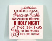 CHRISTMAS in JULY - O Holy Night --  Painted Wooden Subway Typography Christmas Sign