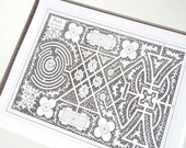 Antique French Garden Plan with Circle Maze & Geometric Pathways In Sepia  Archival Print