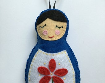 Russian Stacking Doll Felt Christmas Ornament Holiday
