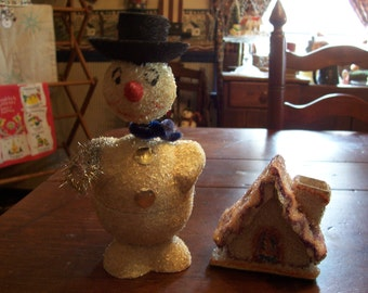 Snowman Bobblehead Christmas Candy Container...Made in Western Germany...Vintage Candy Container...Paper Mache..