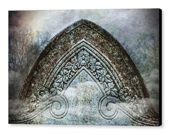 Beautiful Victorian Era Cemetery Grave Headstone Surreal Gothic Mortuary Fine Art Photography Giclee Gallery Wrap Canvas